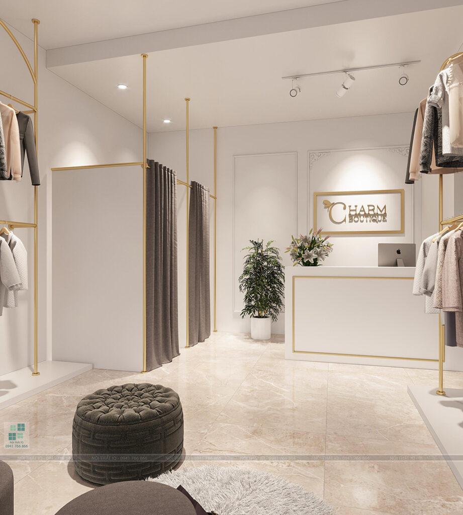 Quầy thanh toán cho shop quần áo công sở hiện đại