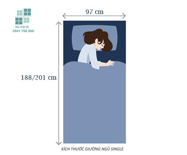 kích thước giường ngủ single