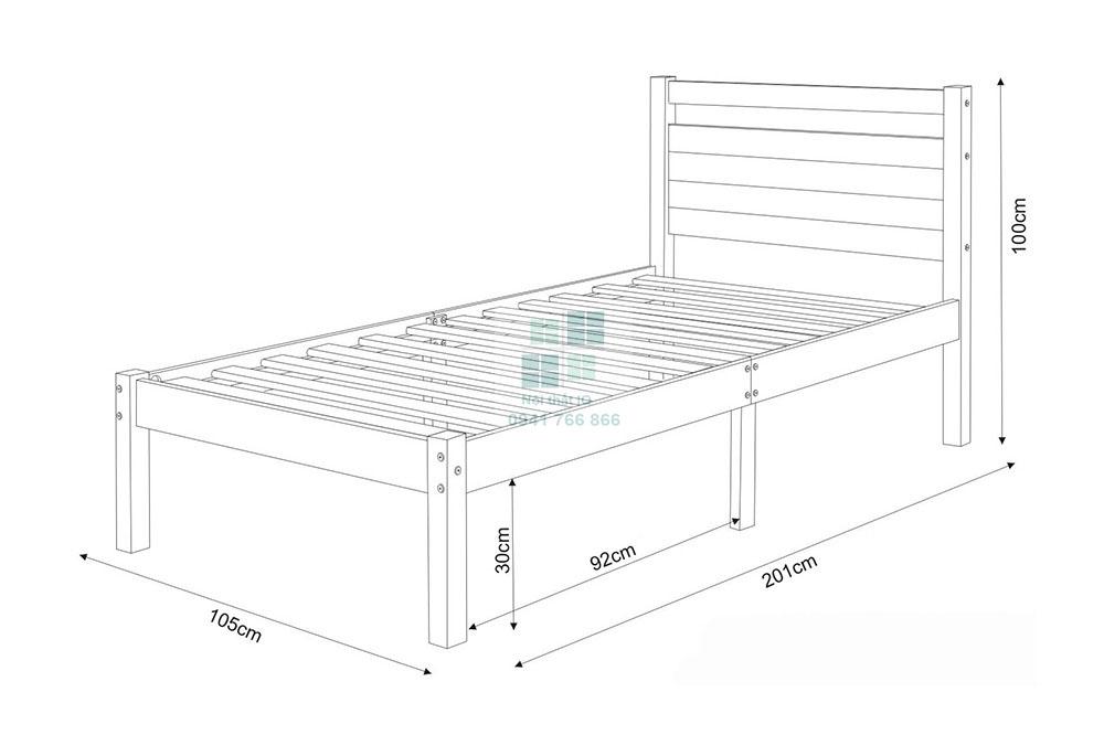 Bản vẽ 2D kích thước giường ngủ đơn