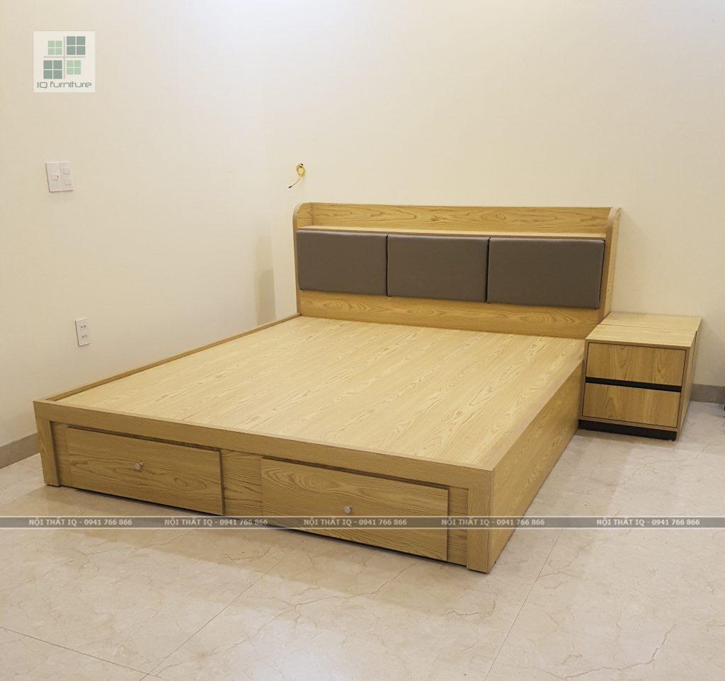 thiết kế giường ngủ 2 ngăn kéo