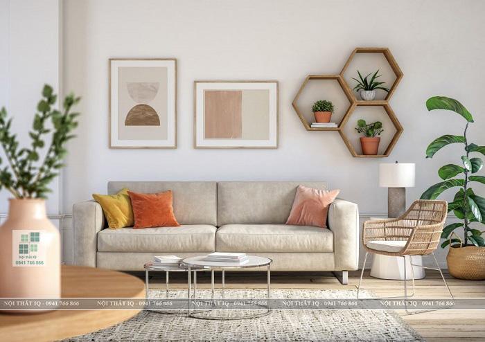 Thiết kế phòng khách 24m2 phối màu đẹp