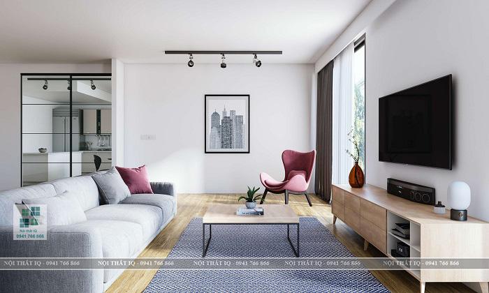 Thiết kế phòng khách 24m2 hình vuông
